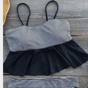 Cupshe stripe of life falbala bikini top
